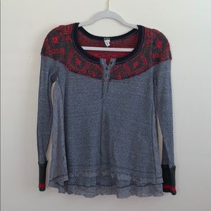 Free People Gray Lace Thermal Long Sleeve Top